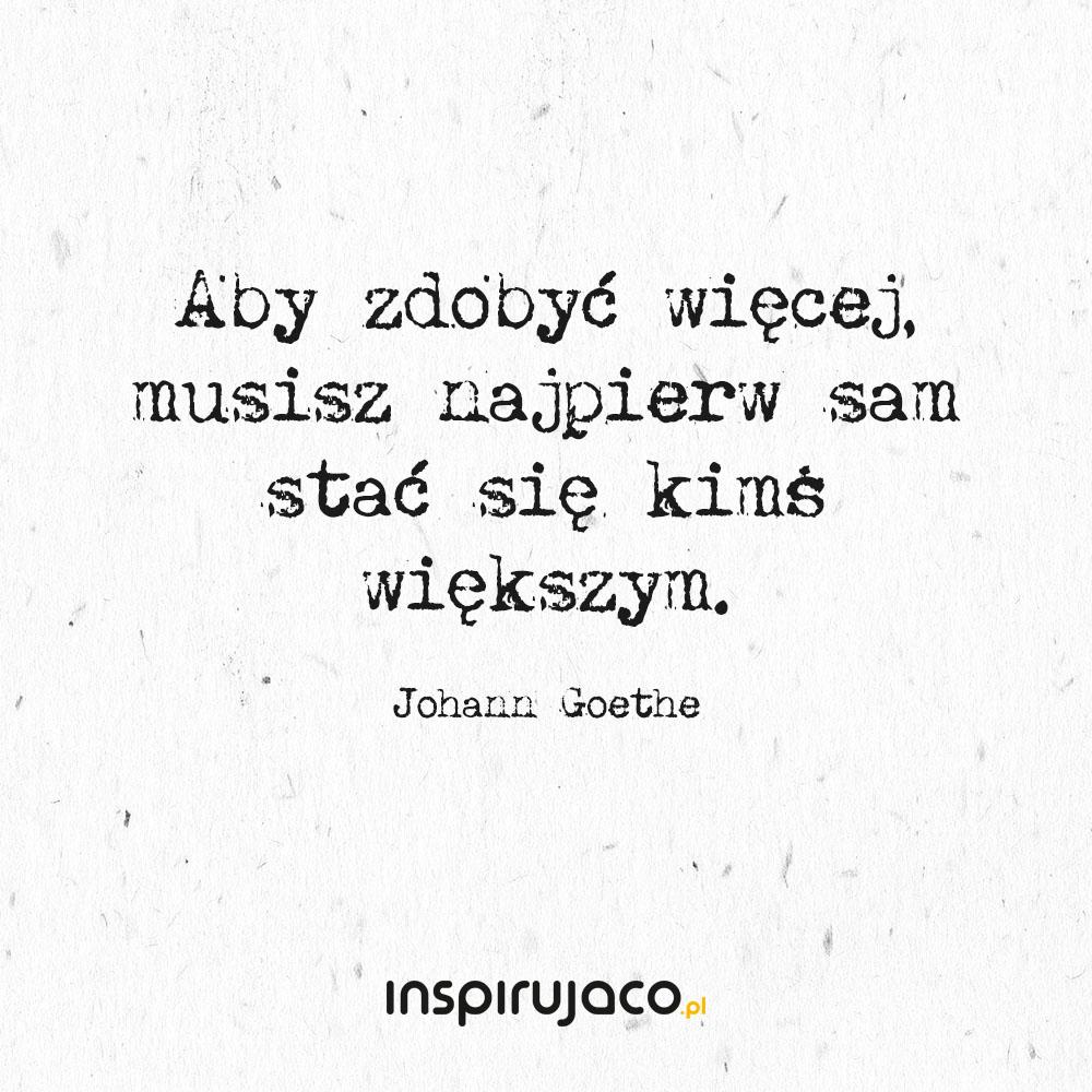 Aby zdobyć więcej, musisz najpierw sam stać się kimś większym. - Johann Goethe