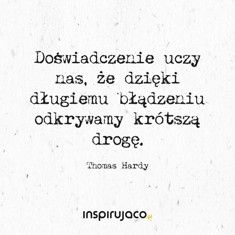 Doświadczenie uczy nas, że dzięki długiemu błądzeniu odkrywamy krótszą drogę. - Thomas Hardy
