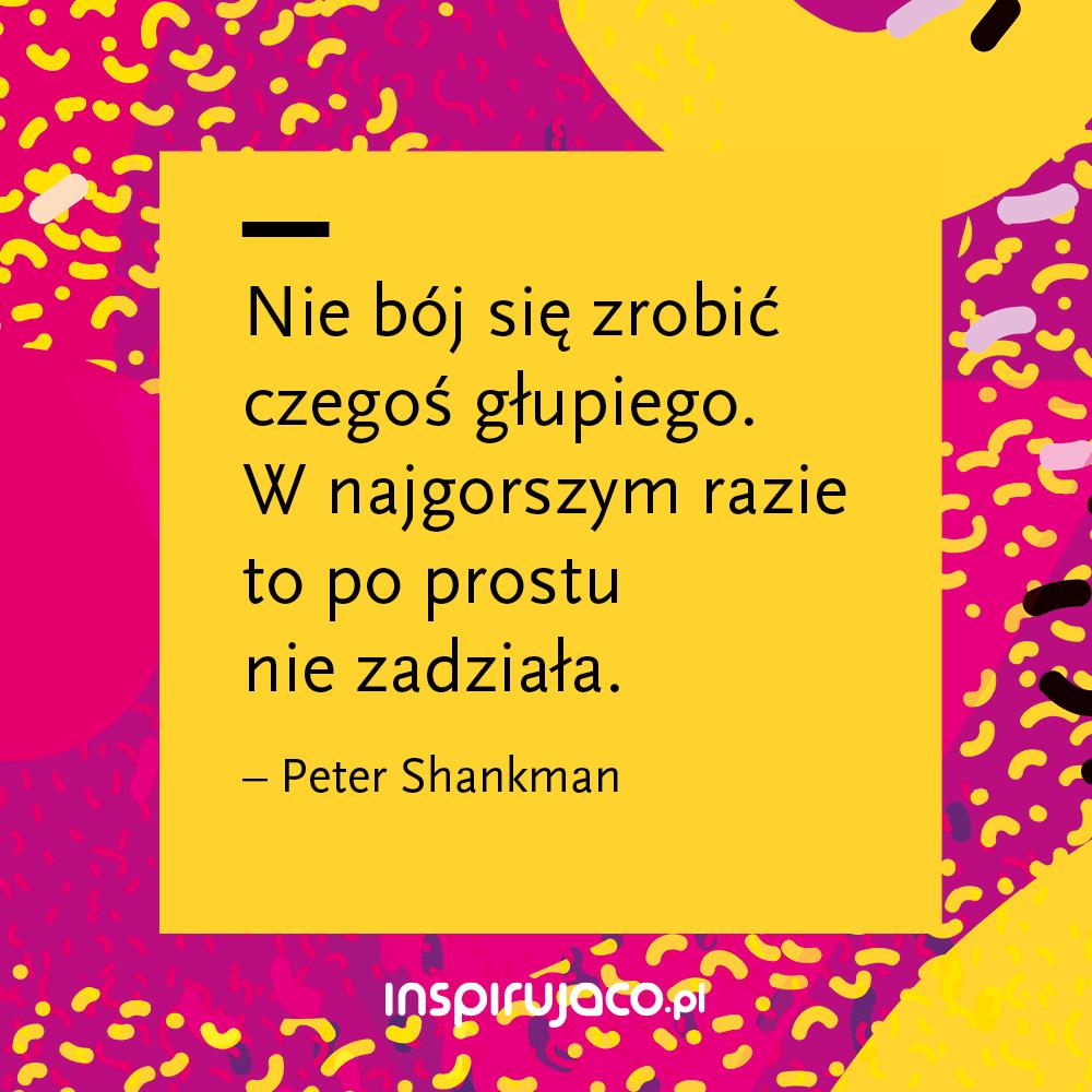 Nie bój się zrobić czegoś głupiego. W najgorszym razie to po prostu nie zadziała. - Peter Shankman