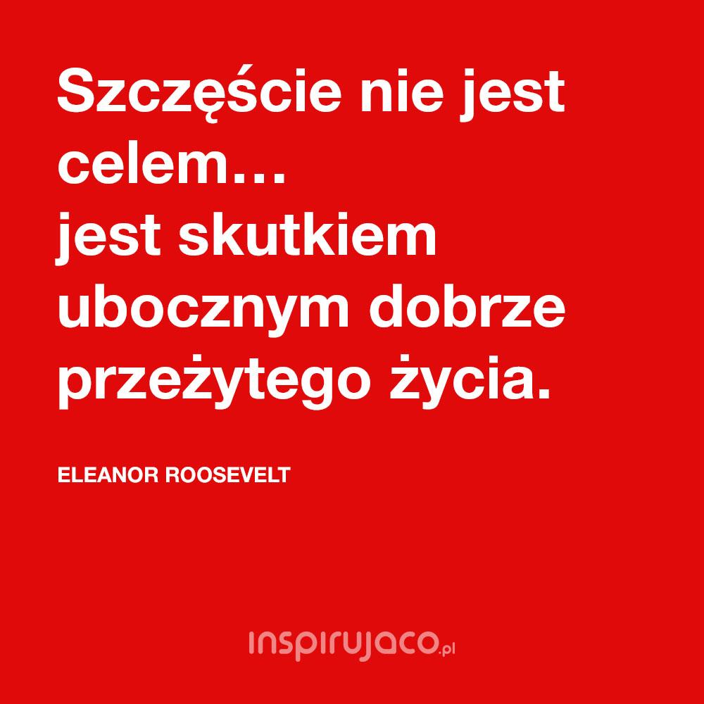 Szczęście nie jest celem… jest skutkiem ubocznym dobrze przeżytego życia. - Eleanor Roosevelt