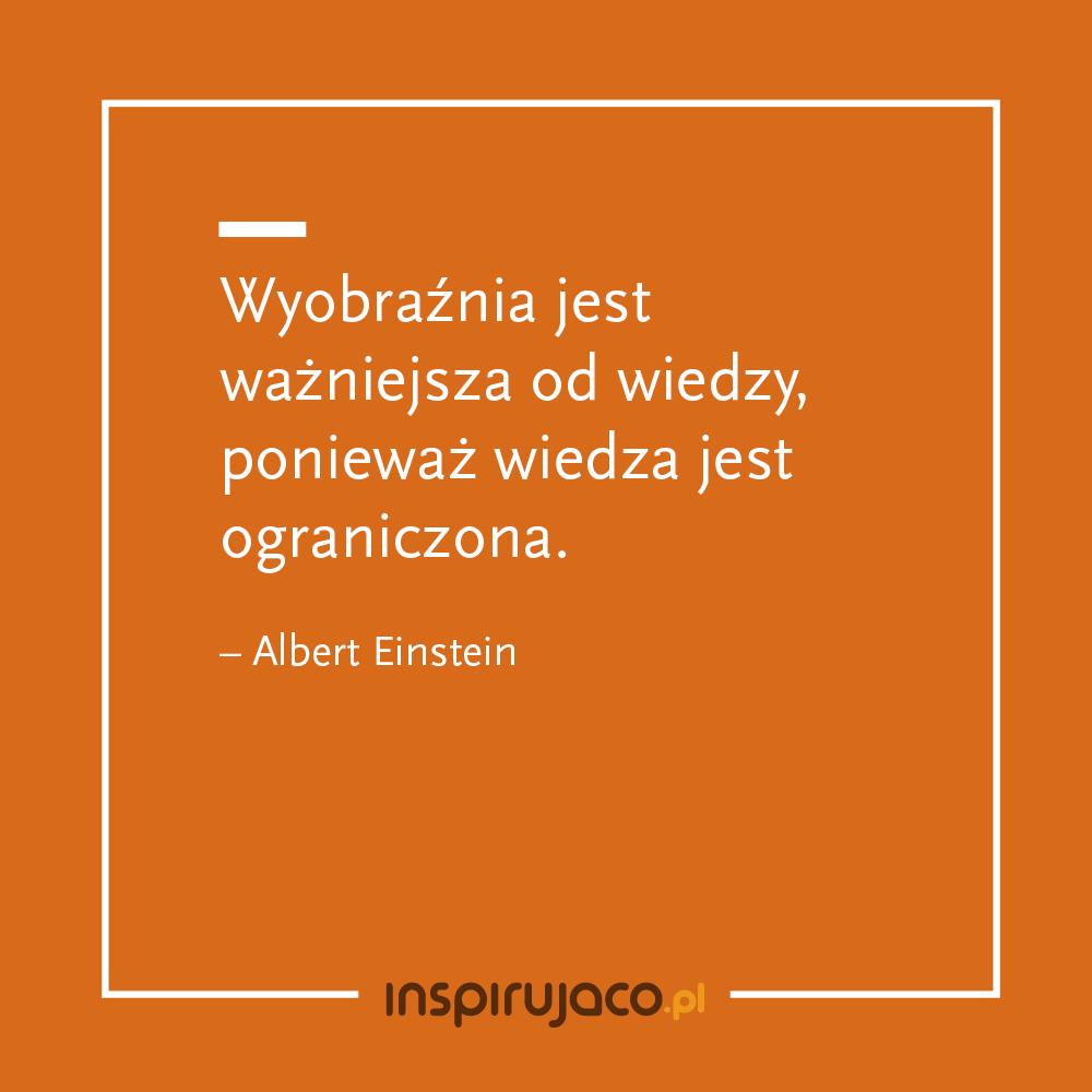 Wyobraźnia jest ważniejsza od wiedzy, ponieważ wiedza jest ograniczona. - Albert Einstein