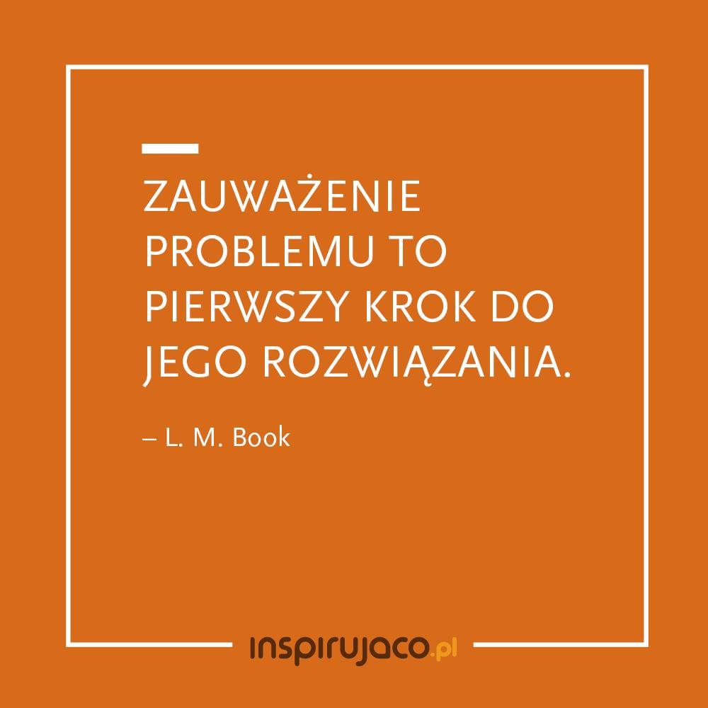Zauważenie problemu to pierwszy krok do jego rozwiązania. - L. M. Book